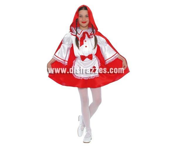 Disfraz de Caperucita Roja Infantil de 7 a 9 años. Incluye capucha, capa y vestido.