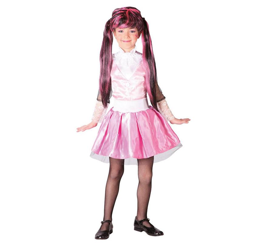 Disfraz de Pink Monster para niñas de 4 a 6 años. Incluye camisa y falda. Peluca, zapatos y medias NO incluido. La peluca la podrás ver con la ref: 52571RU. Ideal para imitar a Draculaura de las Monster High en Halloween.