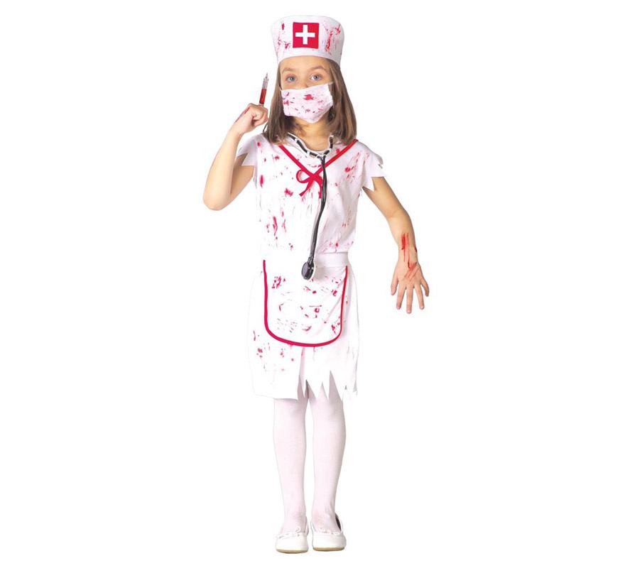 Disfraz barato de Enfermera Zombie para niñas de 7 a 9 años. Incluye cofia, mascarilla, vestido y delantal. La jeringuilla y el estetoscopio lo podrás ver en la sección de Complementos. Disfraz de Enfermera Sangrienta para Halloween.