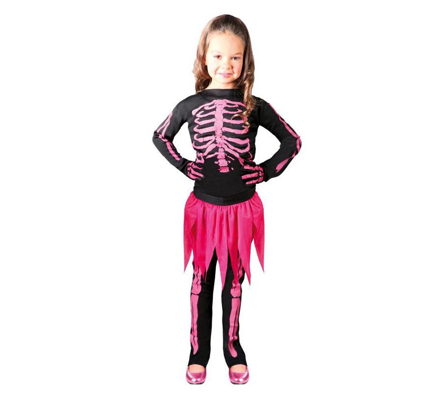 Disfraz de Esqueleto rosa para niñas de 4 a 6 años. Incluye camisa, falda, pantalón.