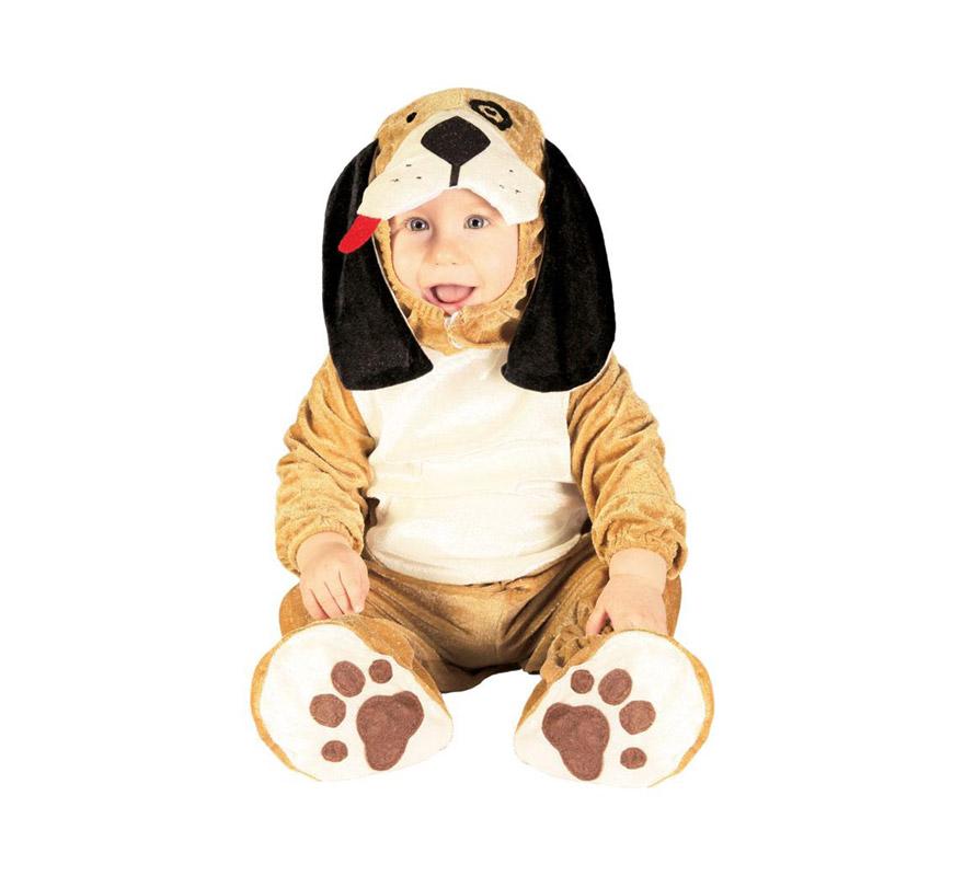 Disfraz de Perrito o Perro Baby para bebés de 12 a 24 meses. Incluye capucha, mono y cubrepies. Tejido de Terciopelo.