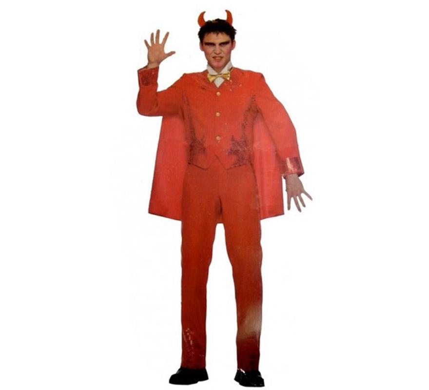 Disfraz de Diablo o Demonio adulto para Halloween. Talla única 52/54. Incluye chaqueta, cuello, pajarita, capa y pantalón. Cuernos NO incluidos, podrás verlos en la sección de Complementos para Halloween.