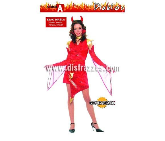 Disfraz barato de Diablesa adulta para Halloween. Talla única válida hasta la 42/44. Incluye cuello, vestido, mangas y cinturón. Cuernos NO incluidos, podrás verlos en la sección de Complementos para Halloween.