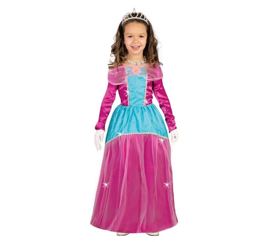 Disfraz de Princesita o Princesa Rosa para niñas de 10 a 12 años. Incluye vestido. Completa el disfraz con corona, anillo, collar, pendientes y guantes.