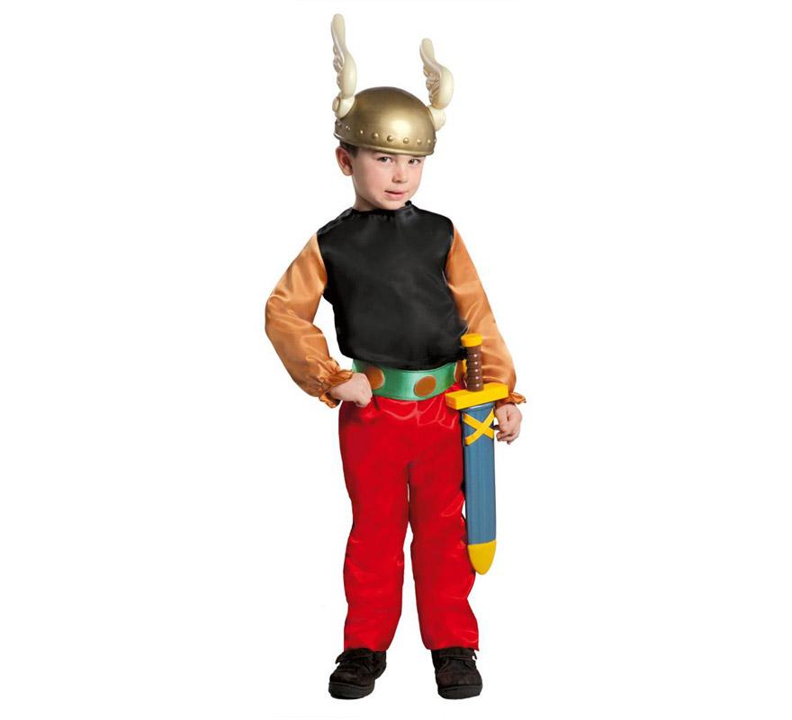 Disfraz de Galo para niños de 10 a 12 años. Incluye casaca, cinturón y pantalón. La espada y el casco lo encontrarás en la sección de Accesorios. Perfecto disfraz para imitar a Astérix.