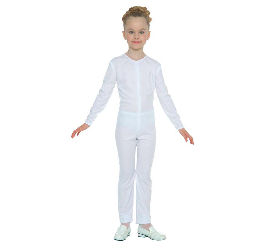 Maillot Blanco para niños de 7 a 9 años. Ideal para ponerlo debajo del disfraz si crees que vas a pasar frío. Tejido elástico de alta calidad, se adapta al cuerpo.