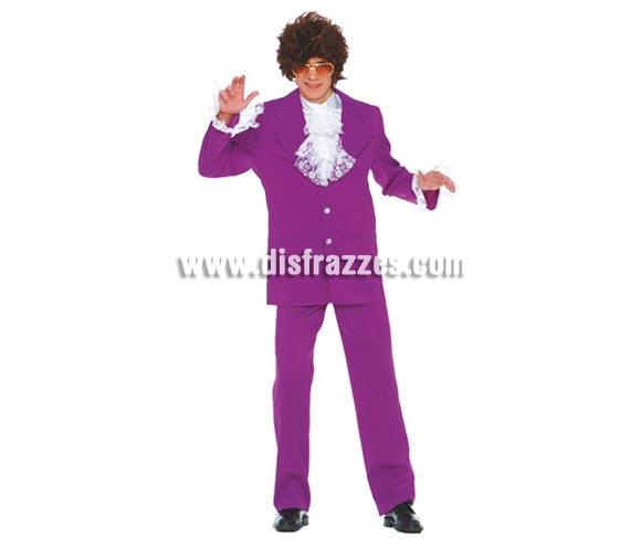 Disfraz de Austin Powers adulto. Talla única 52/54. Incluye pechera, chaqueta y pantalón. Gafas y peluca NO incluidas, podrás verlas en la sección Complementos y Pelucas.