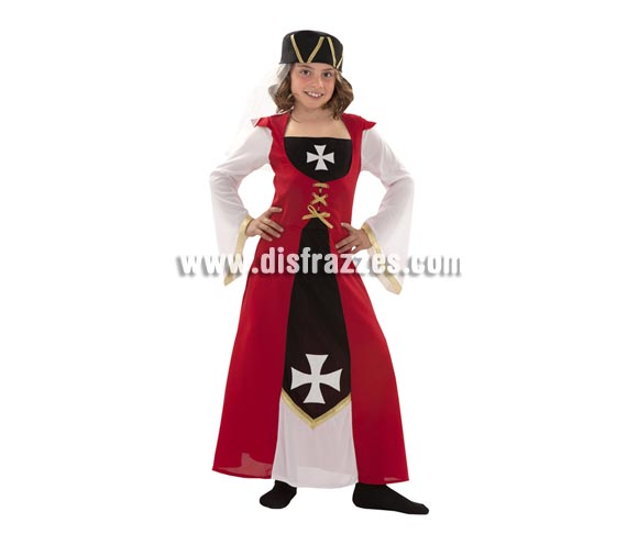 Disfraz de Marquesa de Malta para niñas de 7 a 9 años. Incluye vestido y gorro. Ideal como disfraz Medieval para niñas.