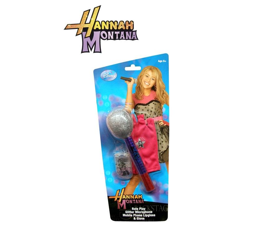 Blister accesorios Hannah Montana. Contiene micrófono, guante sin dedos y pequeño set de maquillaje con forma de teléfono móvil.