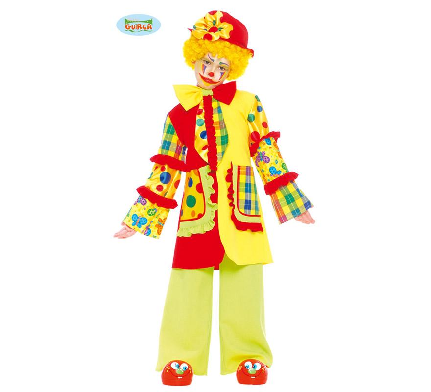 Disfraz de Payaso infantil. Talla de 4 a 6 años. Incluye sombrero, corbata, chaqueta y pantalón. Un disfraz muy bonito y original que no está visto.
