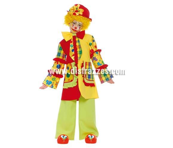 Disfraz de Payaso infantil. Talla de 7 a 9 años. Incluye sombrero, corbata, chaqueta y pantalón. Un disfraz muy bonito y original que no está visto.