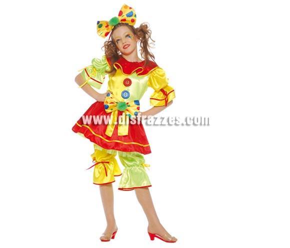 Disfraz de Payasa infantil. Talla 4 a 6 años. Incluye lazo para la cabeza, vestido, cinturón y pantalón. Un disfraz muy bonito y original que no está visto.
