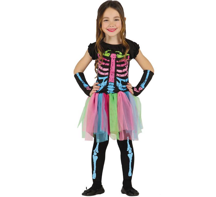 Disfraz de Esqueleto Tutú multicolor para niñas de 3 a 4 años. Incluye vestido con tutú, mangas y medias. Perfecto para Halloween.