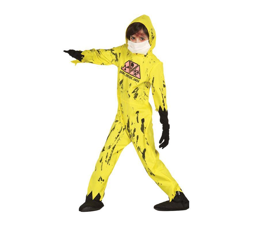 Disfraz de Zombie Nuclear para niños de 7 a 9 años. Incluye mono con capucha. Máscara y guantes NO incluidos. Perfecto para Halloween. Tejido de alta calidad.