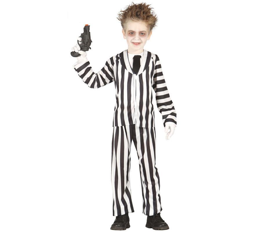 Disfraz de Crazy Ghost para niños de 10 a 12 años. Incluye chaqueta, cuello, corbata y pantalón. Pistola, guantes y zapatos NO incluidos. Podrás ver algunos complementos en la sección de Accesorios. Ideal para disfrazarte de Bitelchús o Sabio Loco.