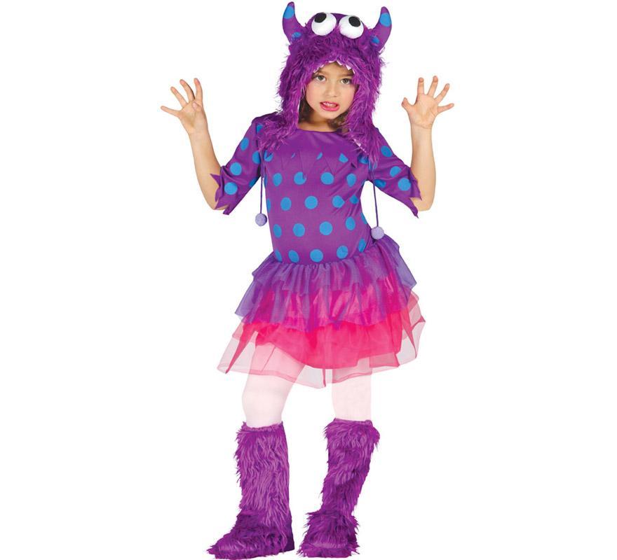 Disfraz de Monstruita lila o de Furry Monster para niñas de 7 a 9 años. Incluye capucha, vestido y cubrebotas. Medias NO incluidas. Perfecto disfraz para imitar al personaje Sulley de la película de Monstruos S.A.