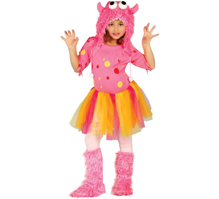 Disfraz de Monstruita rosa o de Furry Monster para niñas de 3 a 4 años. Incluye capucha, vestido y cubrebotas. Medias NO incluidas. Perfecto disfraz para imitar al personaje Sulley de la película de Monstruos S.A.