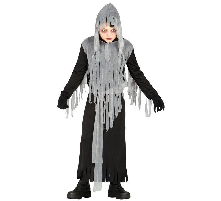 Disfraz para niños de Espíritu del Mal de 5 a 6 años. Incluye túnica con capucha. Perfecto para la noche de Halloween.