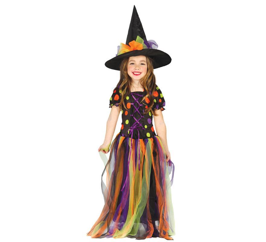 Disfraz de Brujita o Bruja lunares largo para niñas de 5 a 6 años. Incluye sombrero y vestido largo. Perfecto para Halloween.