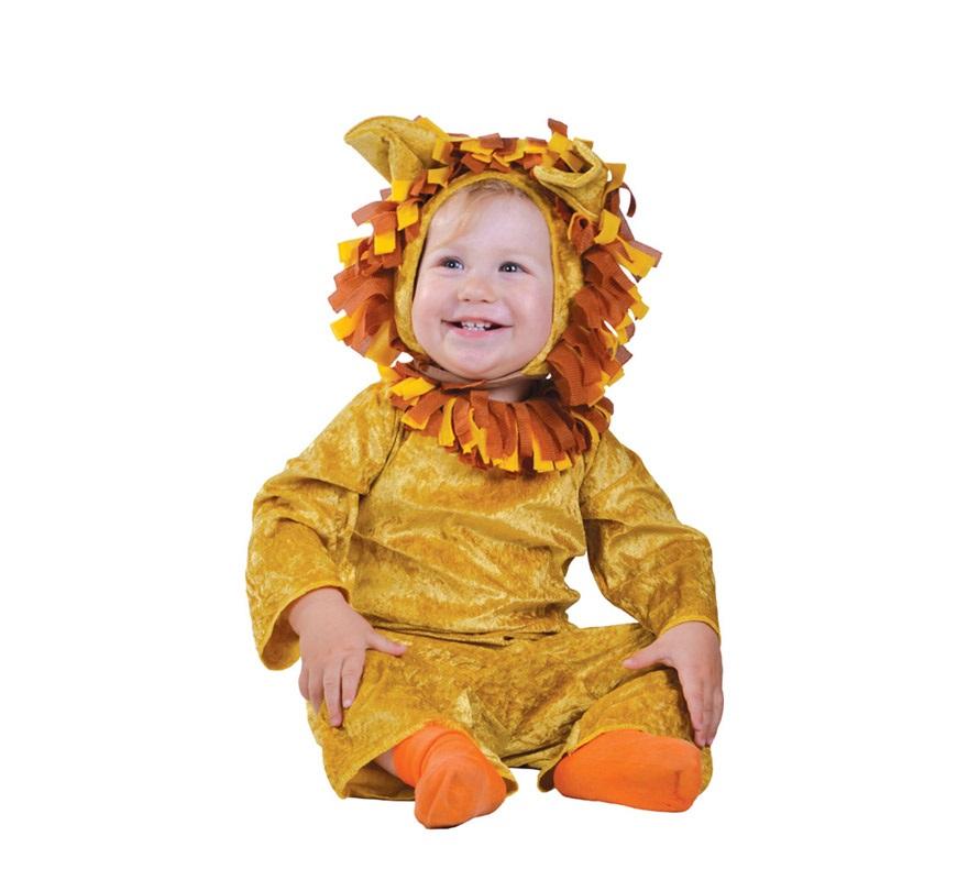 Disfraz de Leoncito para Bebés de 12 a 24 meses. Se compone de Mono y Capucha. Tejido de Terciopelo.