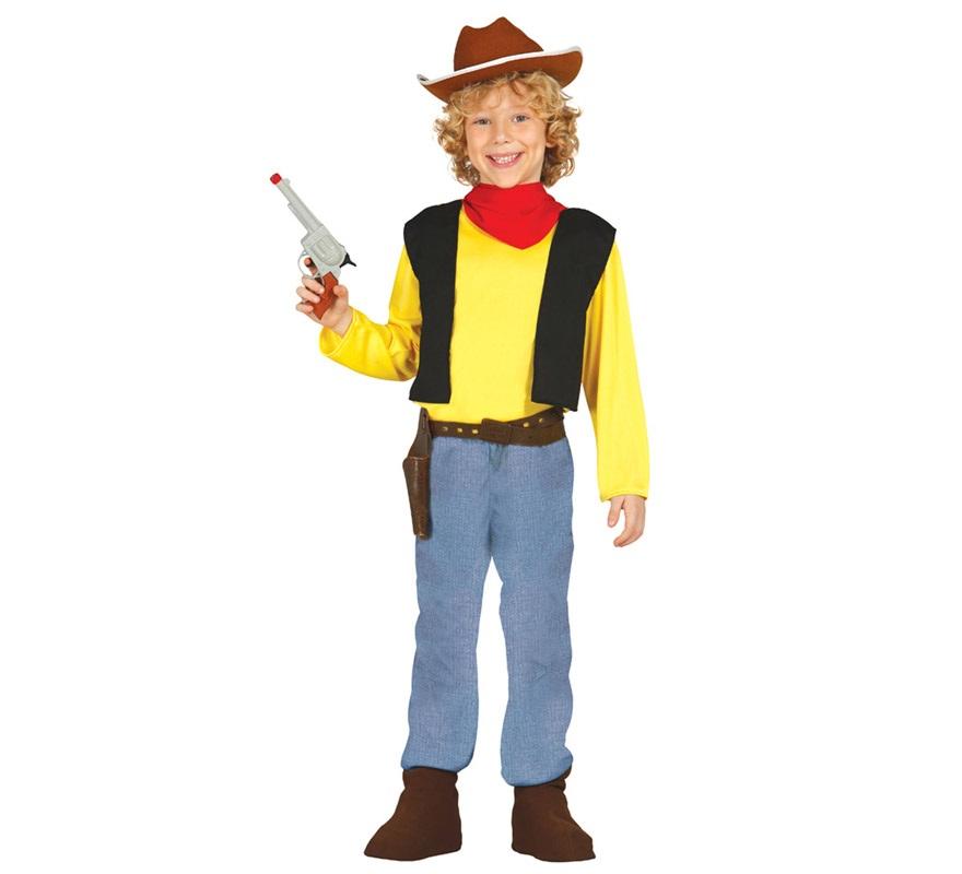 Disfraz de Pistolero o Cowboy para Niños de 7 a 9 años. Vaquero o Sheriff. Perfecto para imitar al personaje de dibujos animados, cómics y películas Lucky Luke. Se compone de Camiseta con Chaleco, Pañuelo del cuello y Pantalón. Completa este disfraz con artículos de nuestra sección de accesorios como pistolas, pistoleras, estrella de Sheriff, cuerda de vaquero, sombrero, peluca...