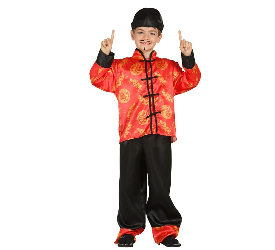 Disfraz de Oriental o Chino para Niños de 7 a 9 años. Se compone de Gorro, Chaqueta y Pantalón. Completa este disfraz con artículos de nuestra sección de accesorios como bigote, perilla o barba, coleta, maquillaje...