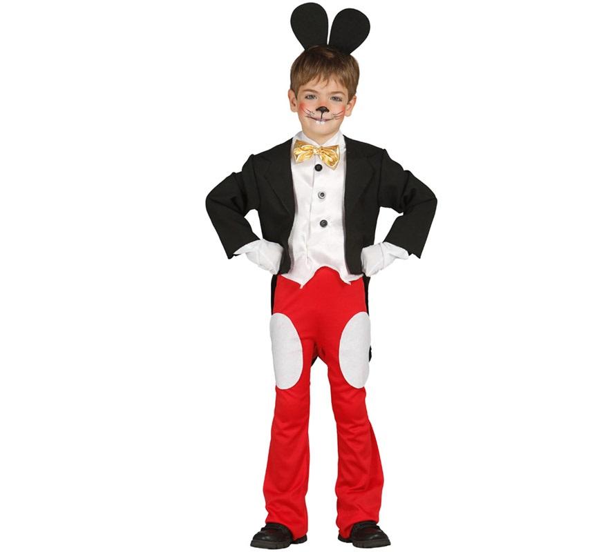Disfraz de Ratoncito para Niños de 5 a 6 años. Perfecto disfraz para imitar al famoso Ratón Mickey Mouse. Incluye Diadema, Pechera, Chaqueta y Pantalón. Completa tu disfraz con artículos de nuestra sección de accesorios como nariz negra, guantes, maquillaje...