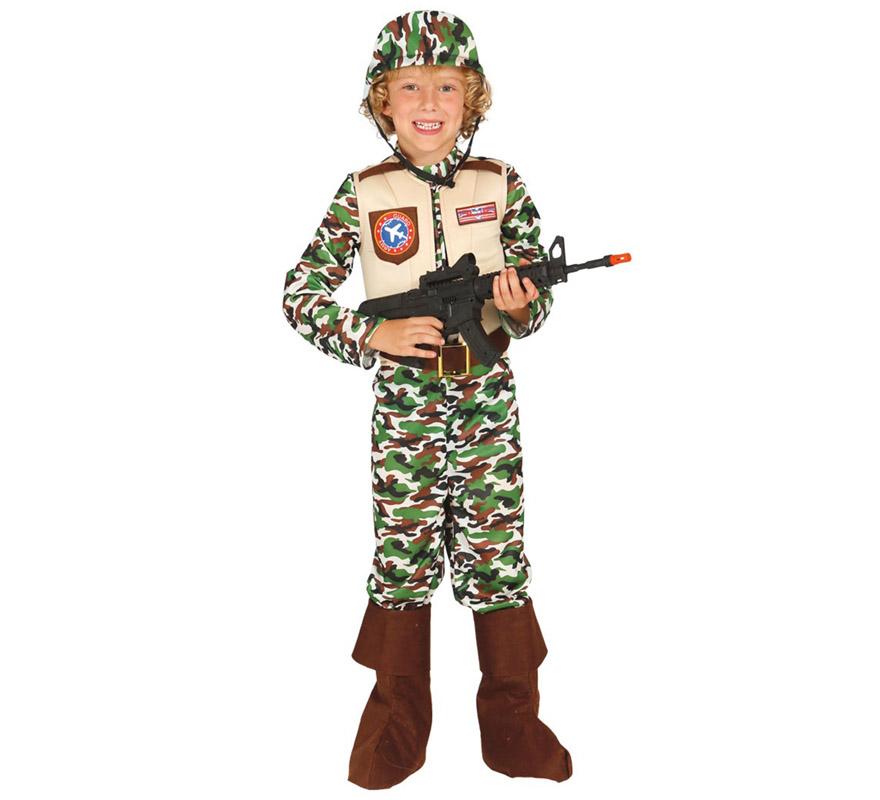 Disfraz Soldado Fuerzas Especiales para Niños 5 a 6 años. Militar del ejército. Se compone de Casco, Traje con Chaleco y Cinturón. Completa tu disfraz con artículos de nuestra sección de accesorios como Pistola, ametralladora, granada, bigote, barba, placa de dentificación... o el Kit de Soldado infantil: Referencia 23972SM