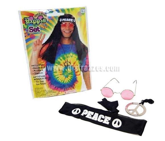 Complemento Hippie. Incluye colgante símbolo de la Paz, gafas y cinta para la cabeza.