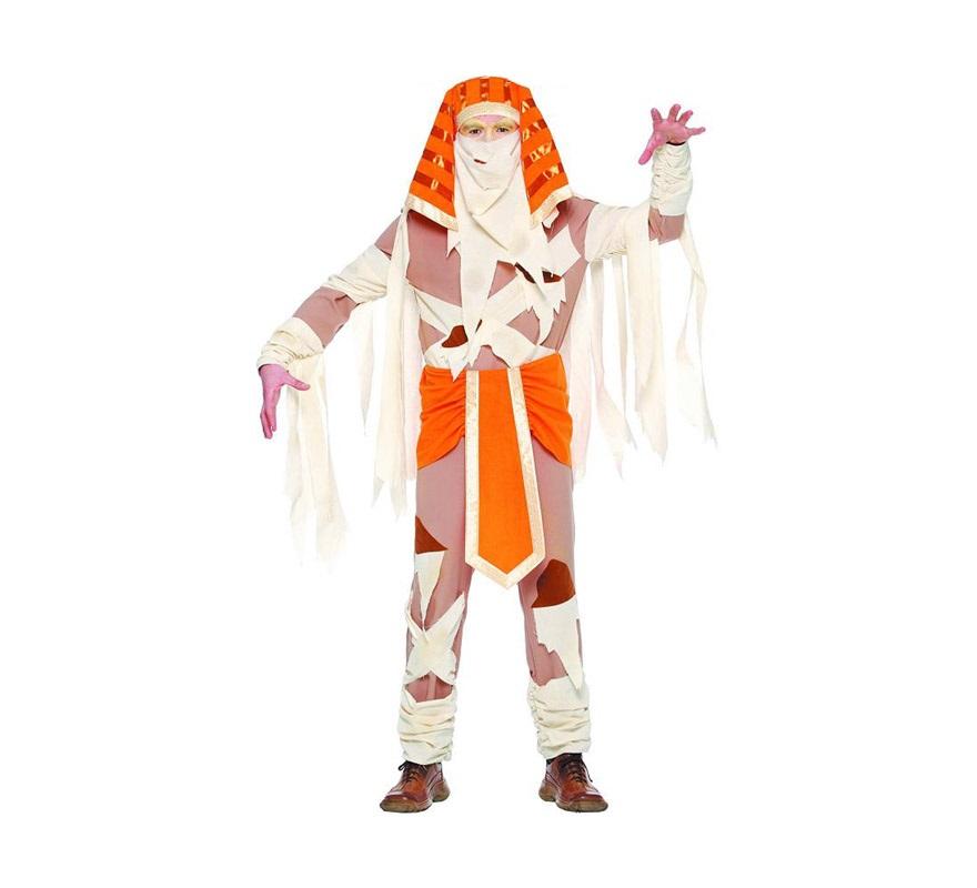 Disfraz de Momia adulto para Halloween. Talla úica 52/54. Incluye gorro, vestido y fajín.