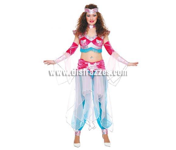 Disfraz de Bailarina Oriental adulta. Talla única 38/42. Incluye tocado de la cabeza, tocado del cuello, top, mangas y pantalón con velos. Disfraz de Bailarina del vientre o Bailarina Árabe para mujer.