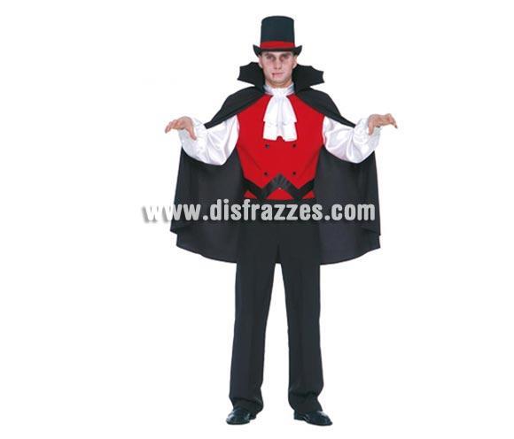 Disfraz de Vampiro adulto para Halloween. Talla única 52/54. Incluye camisa, capa y pantalón. Disfraz del Conde Drácula. Sombrero NO incluido, podrás ver chisteras en la sección Complementos.