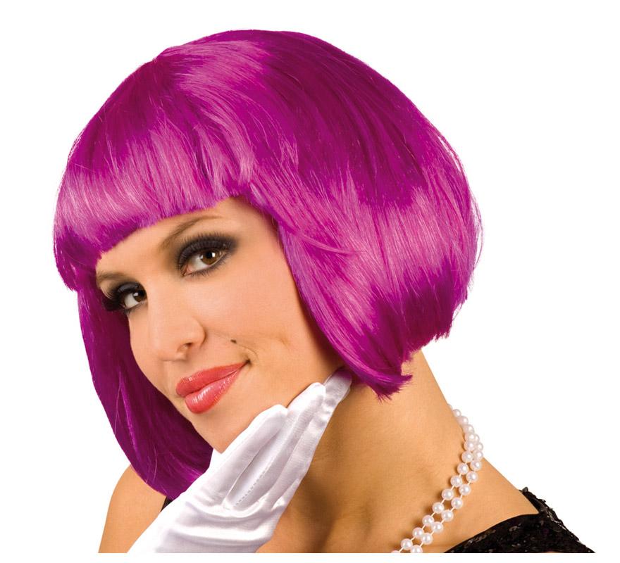 Peluca Cabaret o Charlestón púrpura. Ideal para Despedidas de Soltera. Envase en caja.
