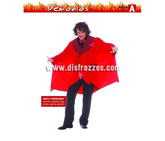 Disfraz de Diablo o Demonio Adulto. Talla única 52/54. Incluye cuernos, chaqueta, camisa, pantalón, pajarita y capa.