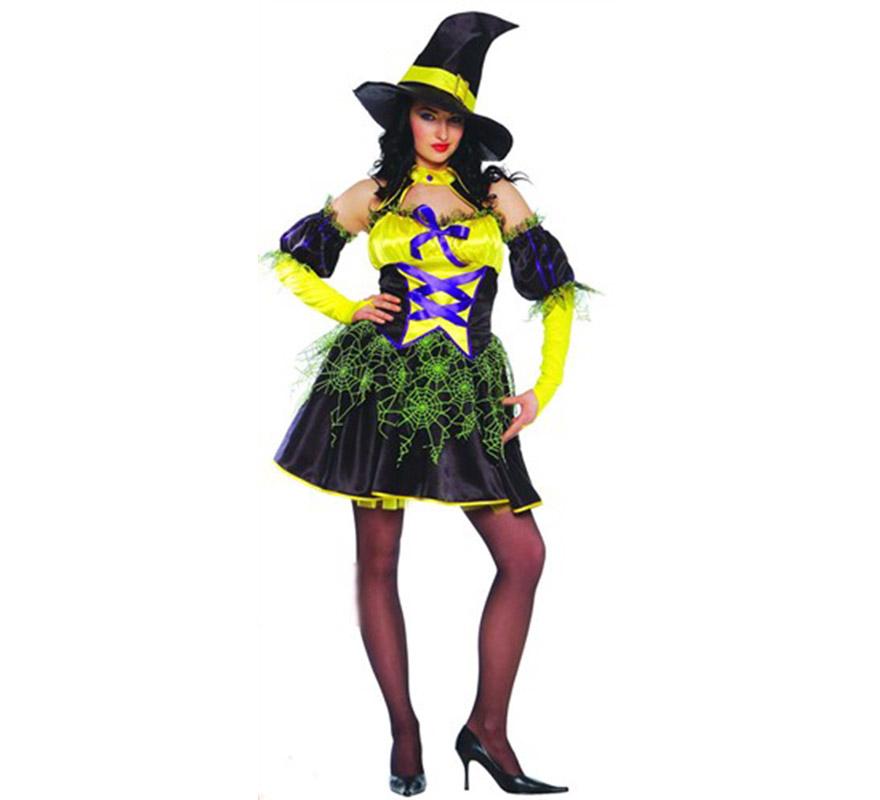 Disfraz de Bruja Sexy amarilla adulta para Halloween. Talla standar válida hasta la talla 42/44. Incluye gorro, cuello, mangas y vestido.