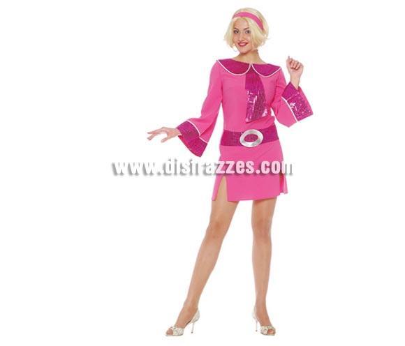 Disfraz de Años 70 Mujer adulta. Talla única válida hasta la 42/44. Incluye Cinta cabeza y vestido. Fiebre del sábado noche.