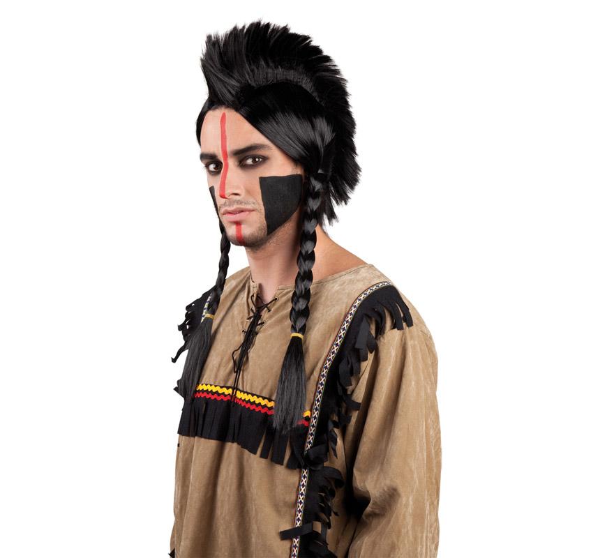 Peluca cresta de Indio Antinanco negra con trenzas. También lo puedes usar para disfraces de estética Punk.