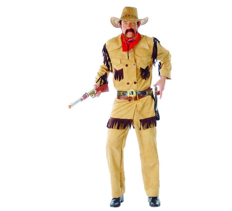 Disfraz de Buffalo Bill adulto. Talla única 52/54. Apariencia Piel. Incluye pañuelo, chaqueta, cinturón y pantalón. Sombrero, cartuchera con pistola y rifle NO incluidos.