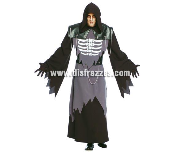 Disfraz de Fantasma Esqueleto para Halloween adulto. Talla única 52/54. Incluye capucha, túnica y cinturón.