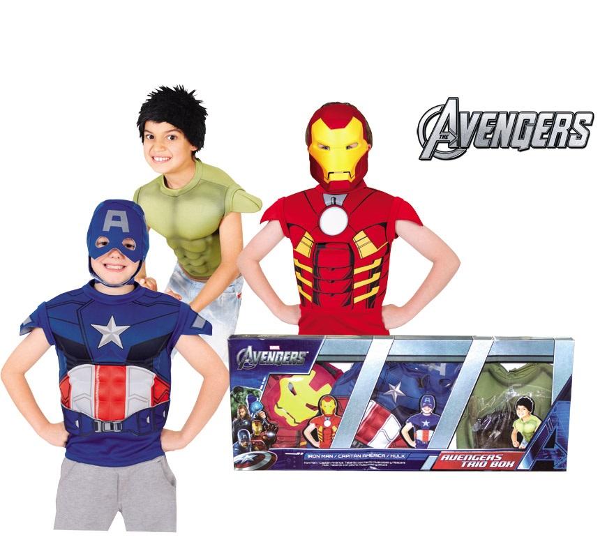 Disfraz de Los Vengadores 3 en 1 para niños 4 a 6 años. Caja de 3 personajes: Iron Man, Capitán América y Hulk. El Disfraz de Iron Man incluye pecho musculoso y máscara, el de Capitán America pecho musculoso y máscara y el de Hulk pecho musculoso y peluca. Con Licencia MARVEL ideal para regalar.