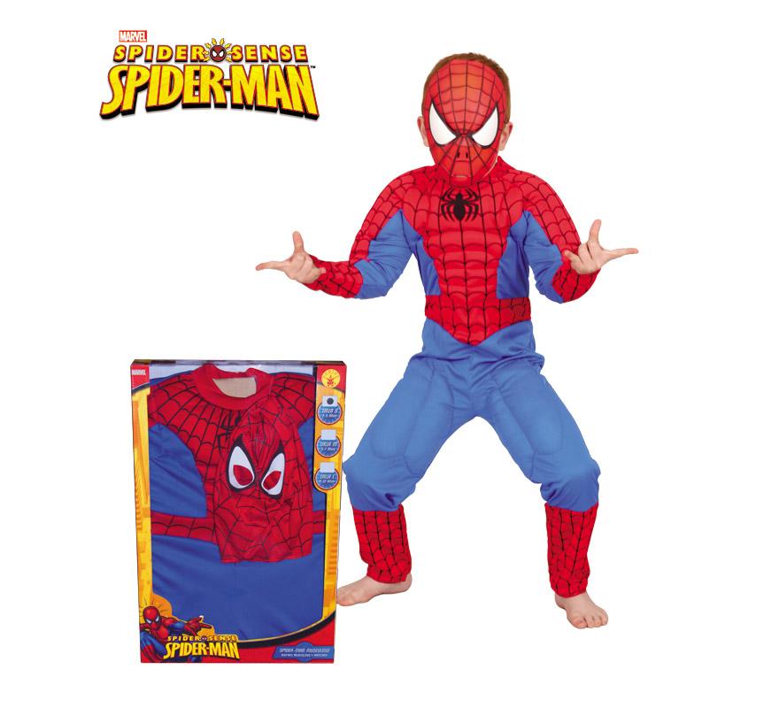 Disfraz de Spiderman musculoso de niño de 3 a 4 años. Incluye jumpsuit con pecho musculoso y máscara. Presentación en caja de regalo. Disfraz con Licencia MARVEL ideal para regalar.