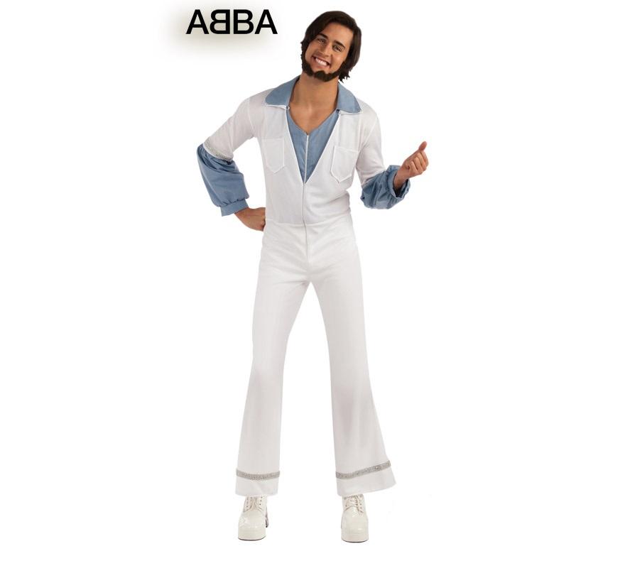 Disfraz de Benny cantante de ABBA para hombre. Talla Standar. Incluye jumpsuit o mono y camisa.