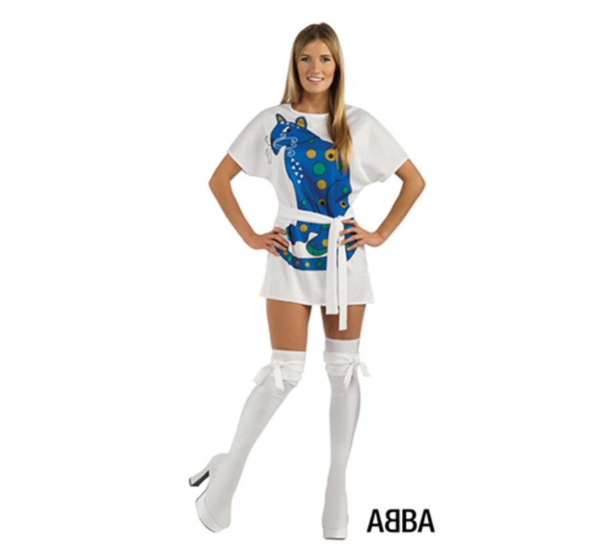 Disfraz de Agnetha cantante de ABBA para mujer. Talla Standar. Incluye vestido, cinturón y cubrebotas.