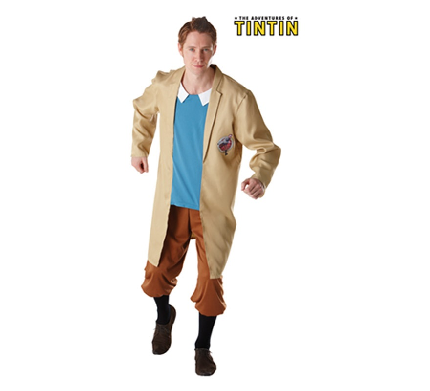 Disfraz de Tintín para hombres. Talla Standar. Incluye chaqueta con camisa y pantalón. Disfraz de Tin Tin con licencia perfecto para Carnaval.