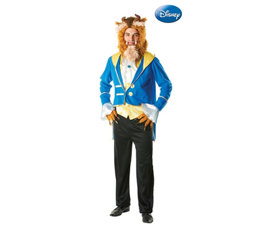 Disfraz de la Bestia para hombre. Talla Standar. Incluye chaqueta, pantalón, guantes y accesorios para la cabeza Disfraz con Licencia de Disney. Con éste disfraz y el de la Bella, podrás hacer la película de la Bella y la Bestia.
