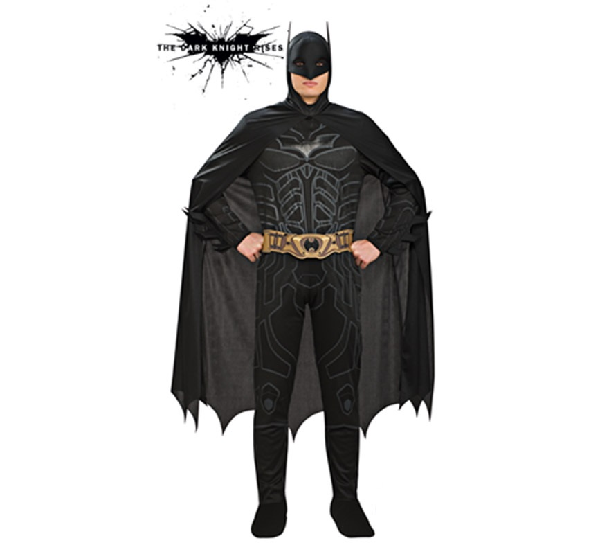 Disfraz de Batman TDK Rises para hombre. Talla Standar. Incluye traje completo, cubrebotas, antifaz, capa y cinturón. Disfraz con licencia.