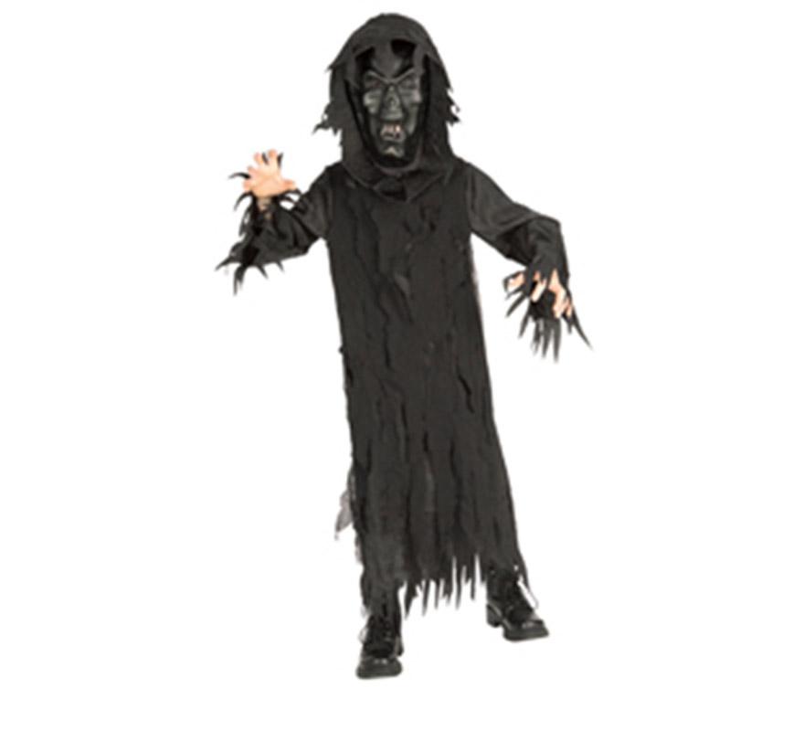 Disfraz de Lord Skeleton con máscara para Halloween. Talla de 5 a 7 años. Incluye túnica con capucha y máscara.