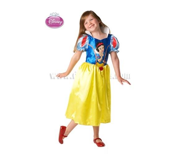 Disfraz de Blancanieves Classic para niñas de 5 a 6 años. Incluye vestido. Presentación en percha. Disfraz con Licencia DISNEY ideal para regalar en Navidad.
