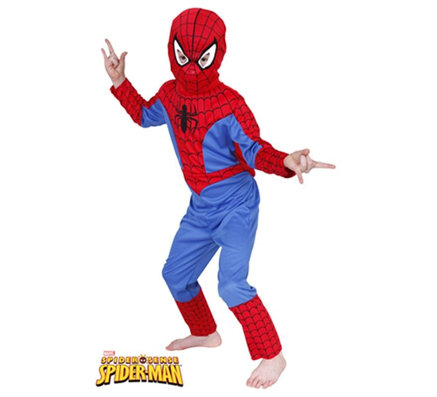Disfraz de Spiderman Classic para niños de 3 a 4 años. Incluye jumpsuit con gorro. Disfraz con Licencia MARVEL. Ideal para regalar en Navidad.