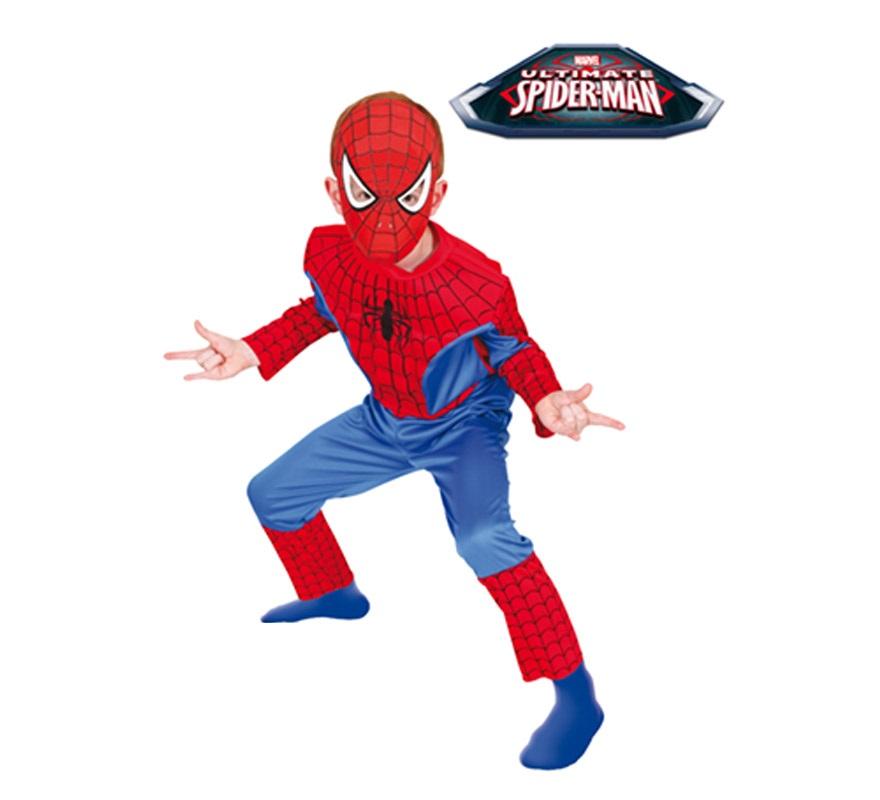 Disfraz de Spiderman Musculoso para niños de 3 a 4 años. Incluye jumpsuit con pecho musculoso de EVA y máscara. Disfraz con Licencia MARVEL. Ideal para regalar en Navidad